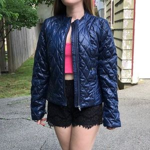 H&M navy blue quilted puff jacket